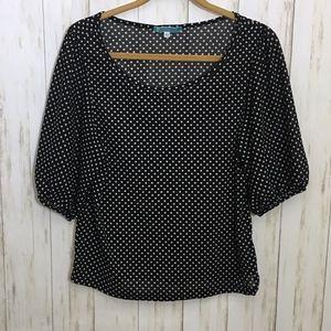 Sheer Black & White Polka Dot Peasant Top